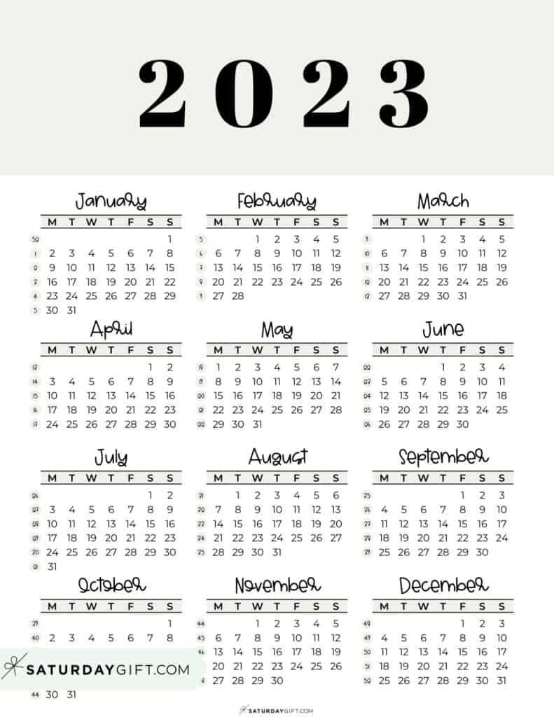 2023 Yearly Calendar printable with week numbers starting Monday - beige free printable
