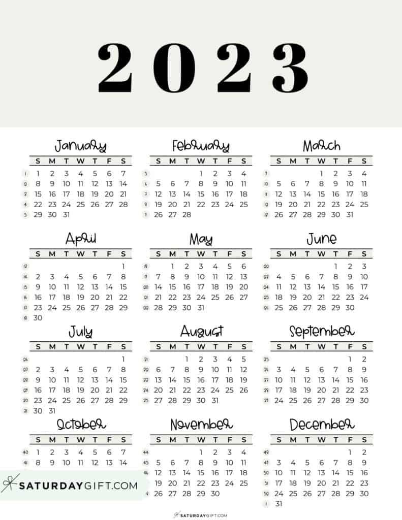 2023 Yearly Calendar printable with week numbers starting Sunday - beige free printable