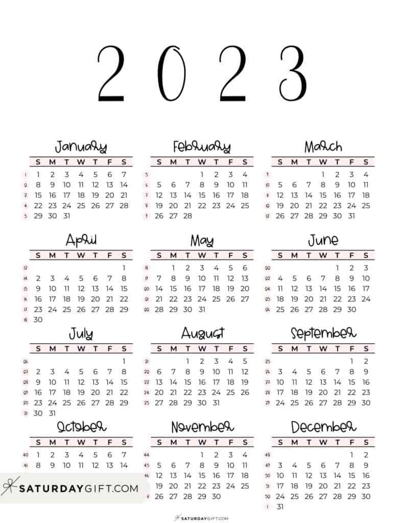 2023 Yearly Calendar printable with week numbers starting Sunday - pink free printable