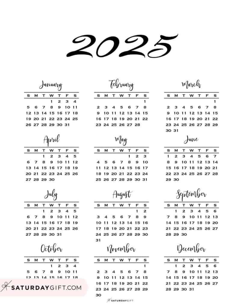2025 Yearly Calendar Minimal One Page 2025 Calendar printable Sunday Start