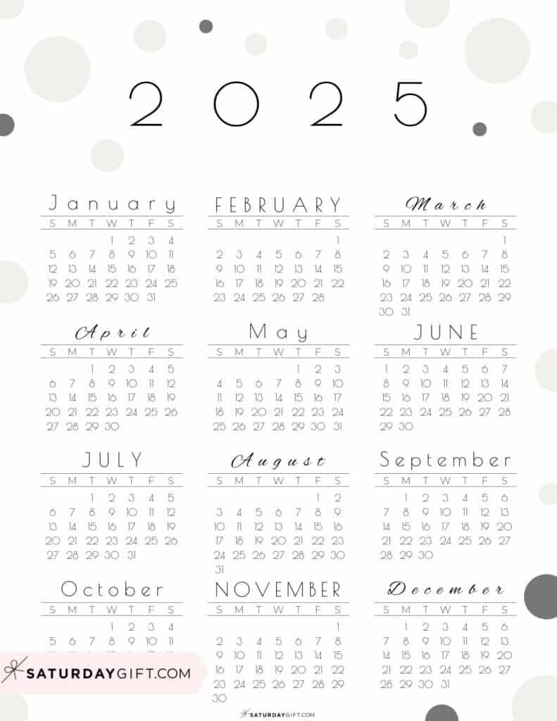 2025 Yearly Calendar - Pretty Pastel Dots beige 2025 Printable calendar - Sunday-start