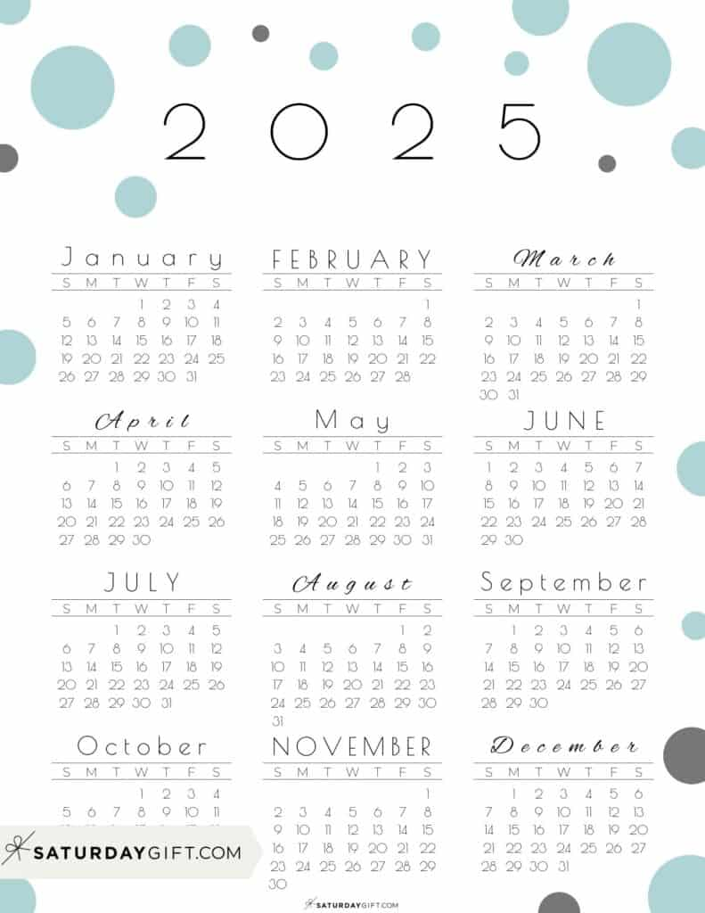 2025 Yearly Calendar - Pretty Pastel Dots green 2025 Printable calendar - Sunday-start