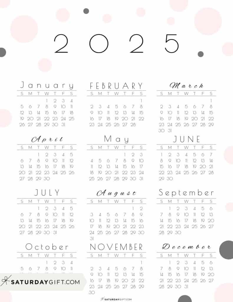 2025 Yearly Calendar - Pretty Pastel Dots pink 2025 Printable calendar - Sunday-start