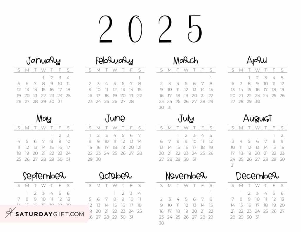 2025 Yearly Calendar free simple minimal 2025 calendar printable - Sunday-start horizontal