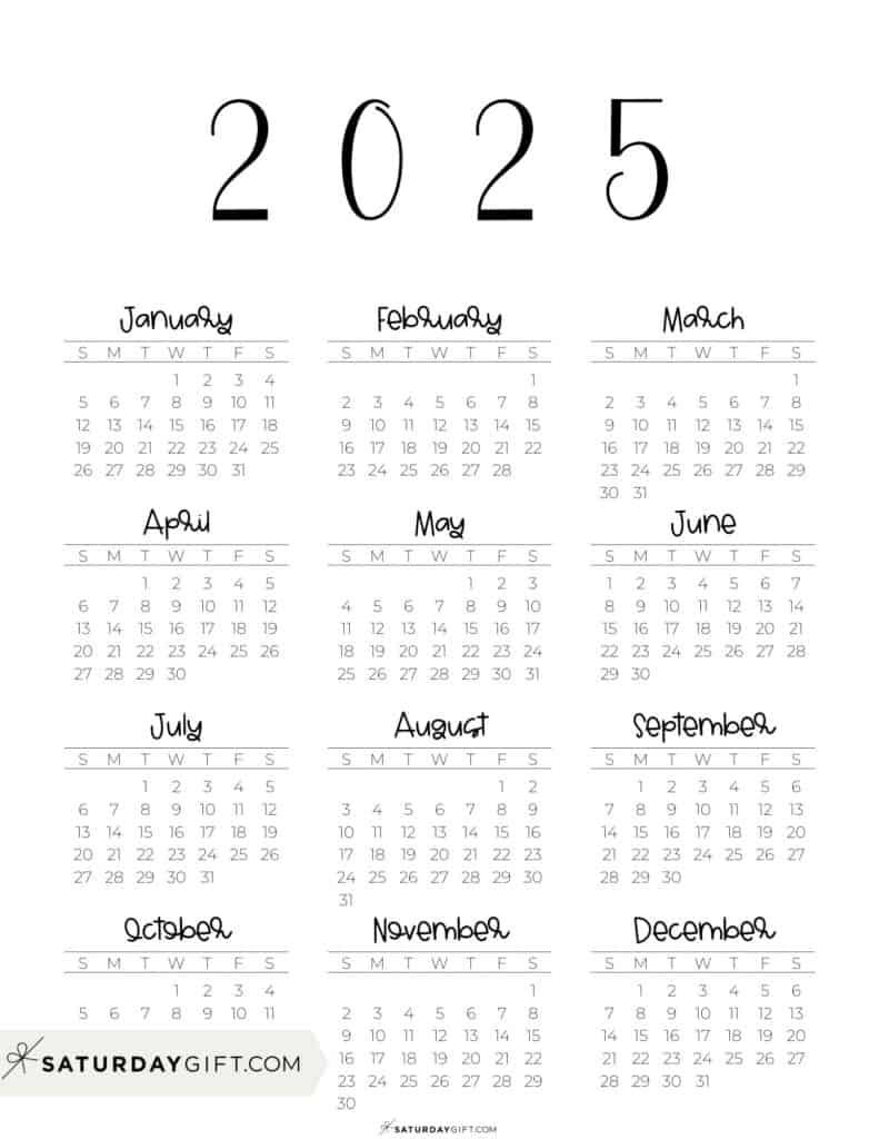 2025 Yearly Calendar free simple minimal 2025 calendar printable - Sunday-start vertical
