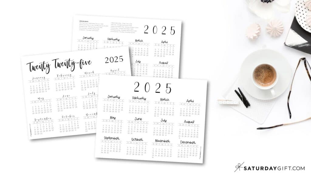 2025 Yearly Calendar printable horizontal templates