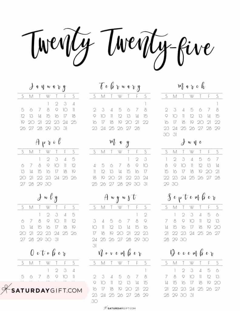 2025 Yearly Calendar printable twenty twenty five - free printable - Sunday start