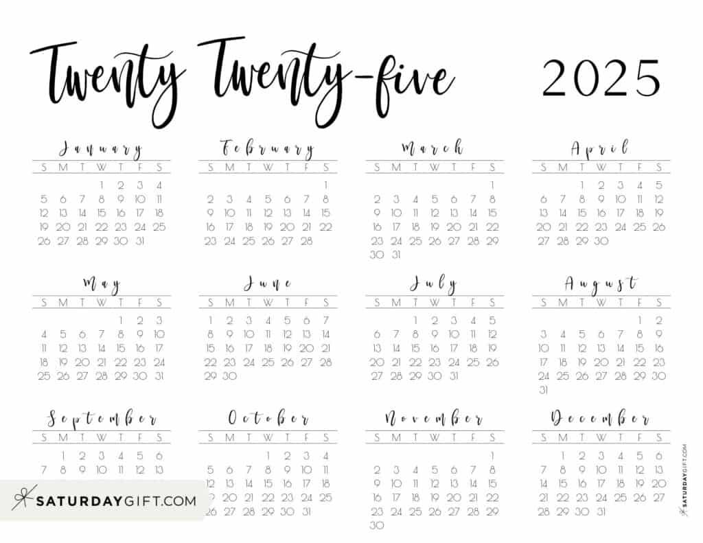 2025 Yearly Calendar printable twenty twenty five - free printable landscape - Sunday start