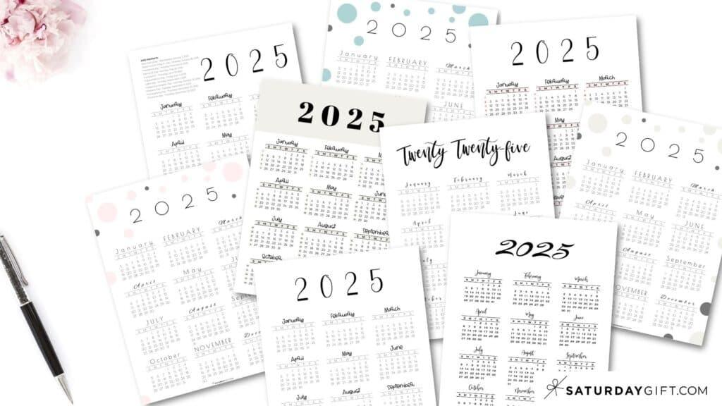 2025 Yearly Calendar printable vertical templates