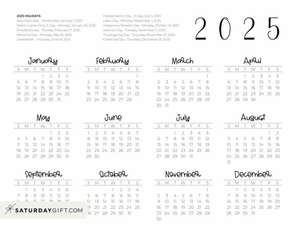 2025 Yearly Calendar printable with holidays - free printable - horizontal