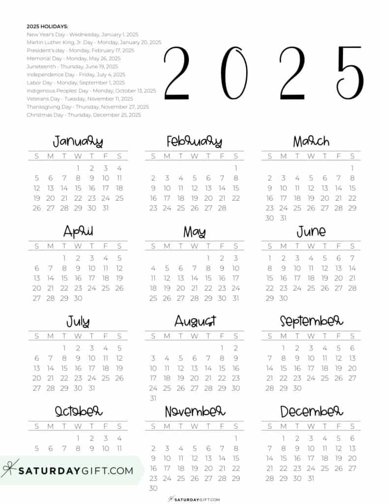 2025 Yearly Calendar printable with holidays - free printable - portrait