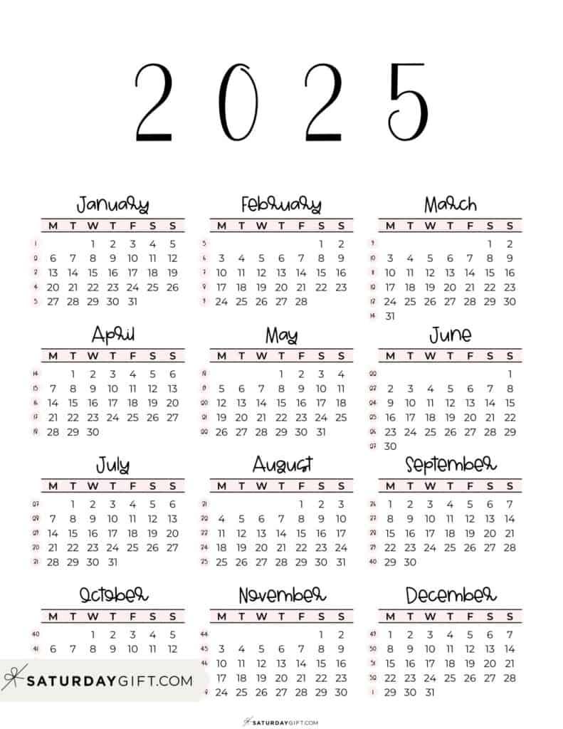 2025 Yearly Calendar printable with week numbers starting Monday - pink free printable