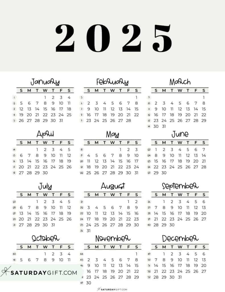 2025 Yearly Calendar printable with week numbers starting Sunday - beige free printable