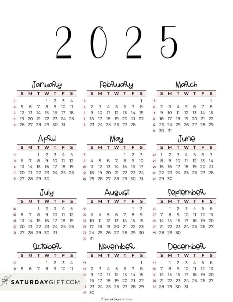 2025 Yearly Calendar printable with week numbers starting Sunday - pink free printable