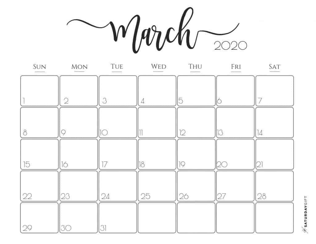Free Printable March 2020 Calendar.Elegant 2020 Calendar Saturdaygift