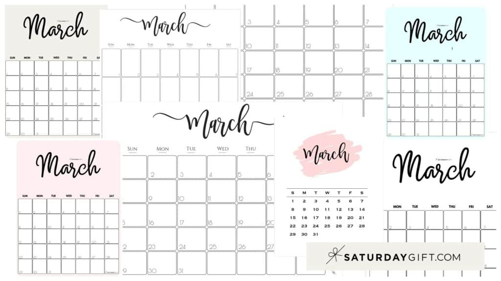 Cute & Free Printable March Monthly Calendars Featured Collage Image | SaturdayGift
