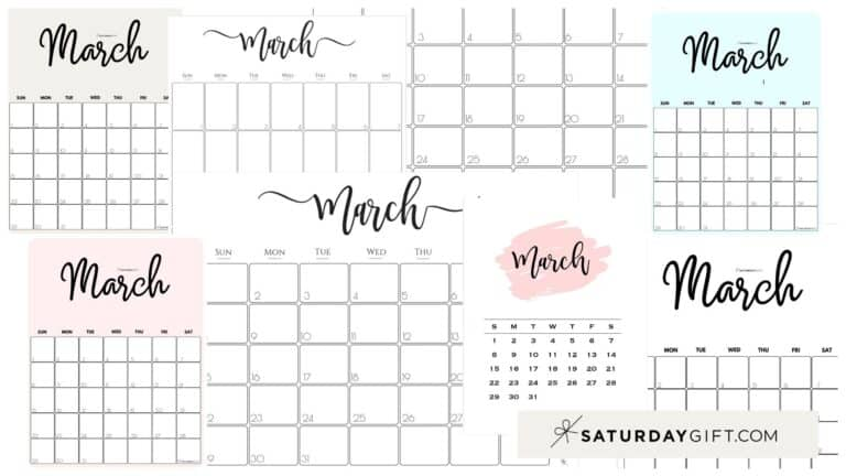 Cute (& Free!) Printable March 2021 Calendar – All Pretty SaturdayGift Designs