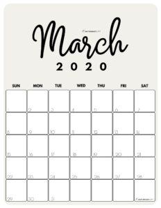 March 2020 Cute Monthly Calendar Beige PDF   SaturdayGift