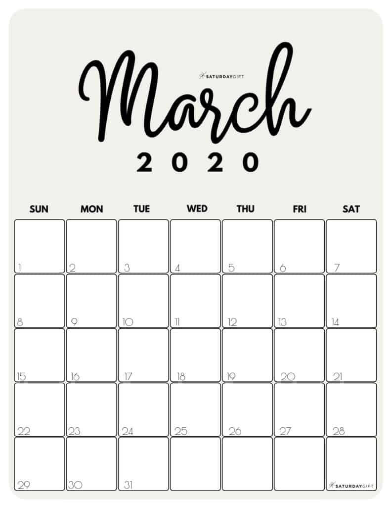 March 2020 Cute Monthly Calendar Beige PDF | SaturdayGift