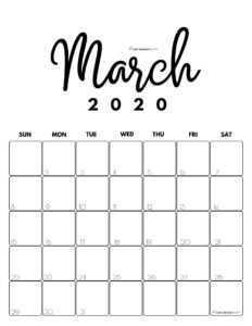 March 2020 Cute Monthly Calendar Black and White PDF   SaturdayGift
