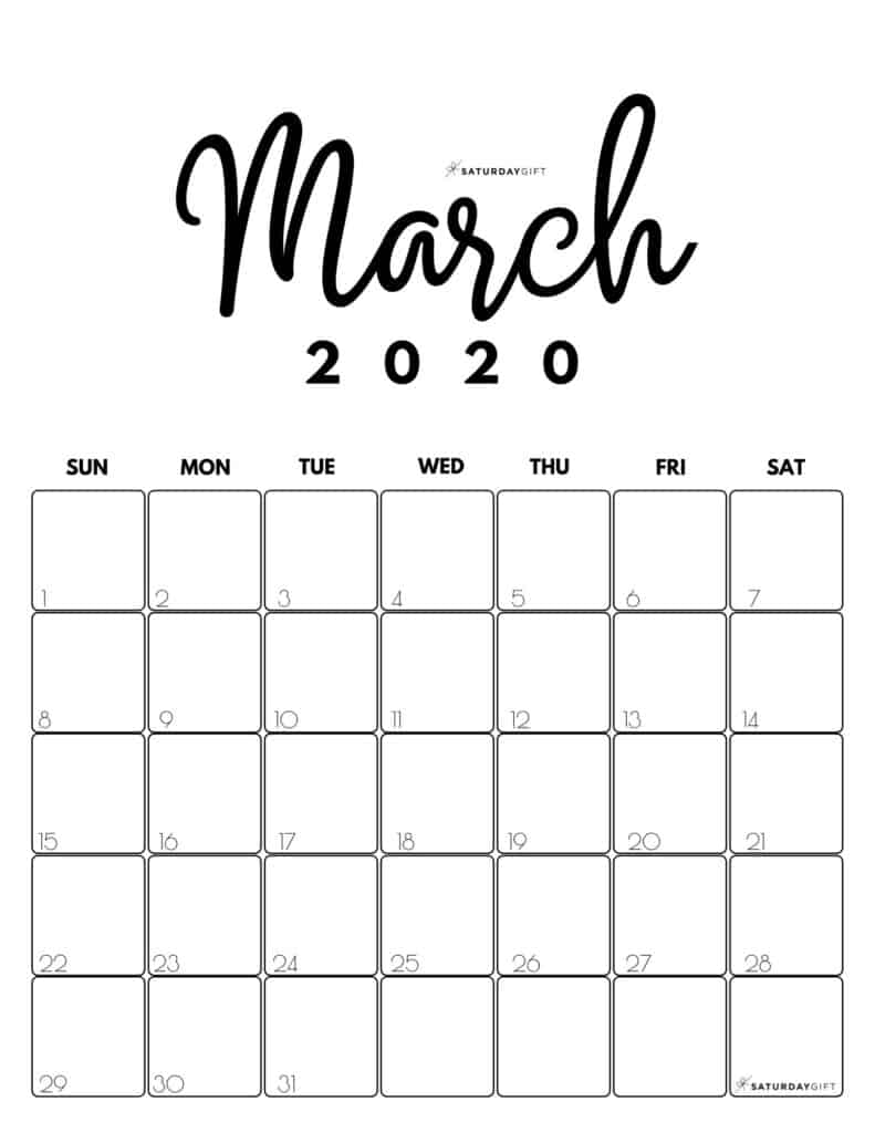 March 2020 Cute Monthly Calendar Black and White PDF | SaturdayGift