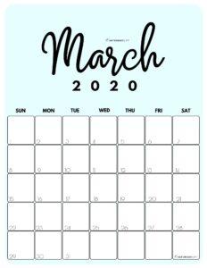 March 2020 Cute Monthly Calendar Blue PDF   SaturdayGift