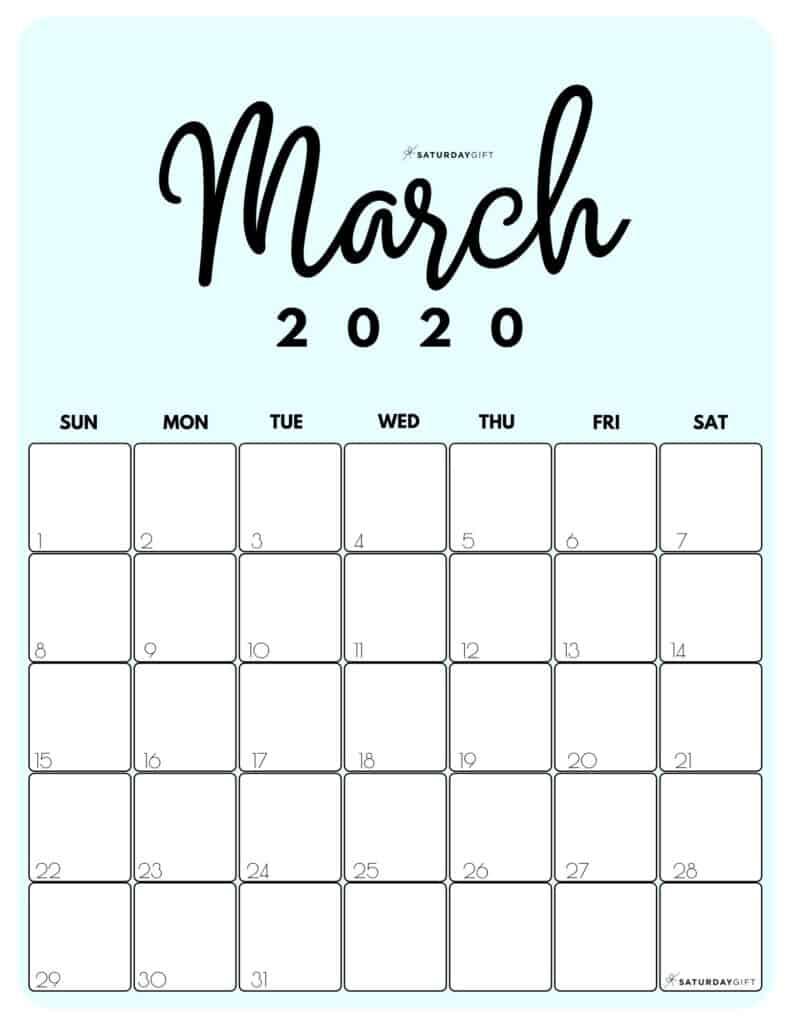March 2020 Cute Monthly Calendar Blue PDF | SaturdayGift