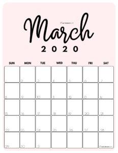 March 2020 Cute Monthly Calendar Pink PDF   SaturdayGift