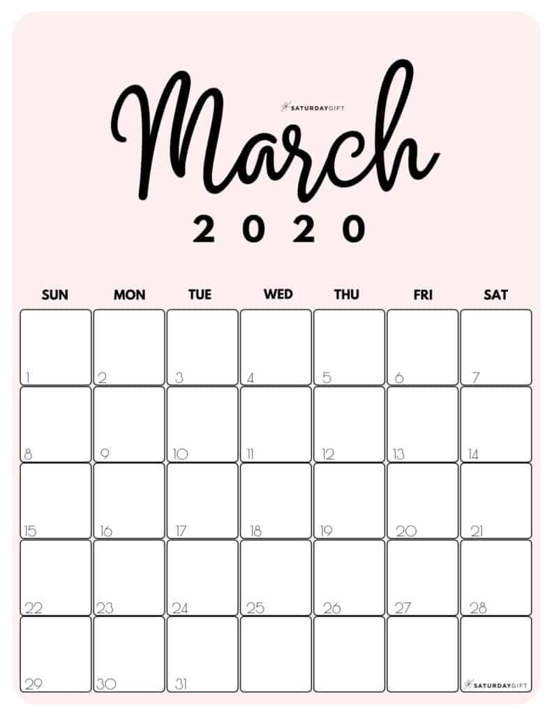 March 2020 Cute Monthly Calendar Pink PDF | SaturdayGift