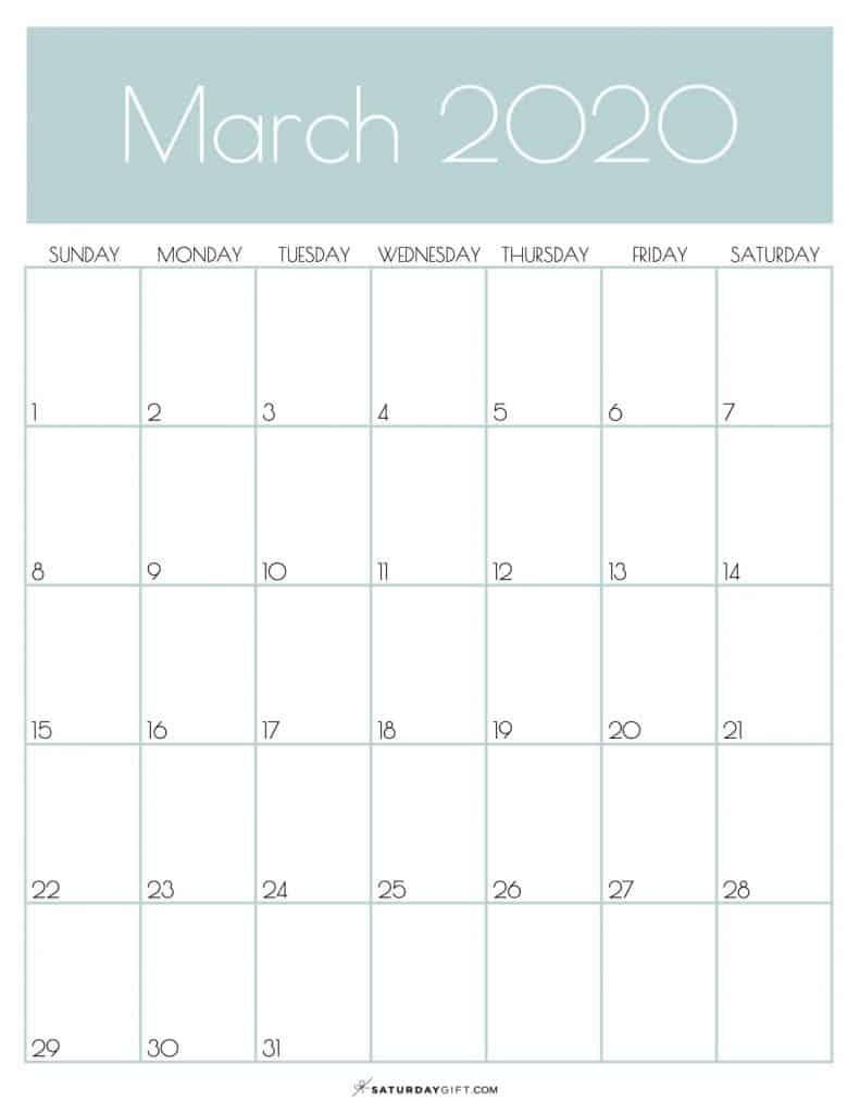 Monthly Goals Calendar March 2020 Jungle Mist | SaturdayGift
