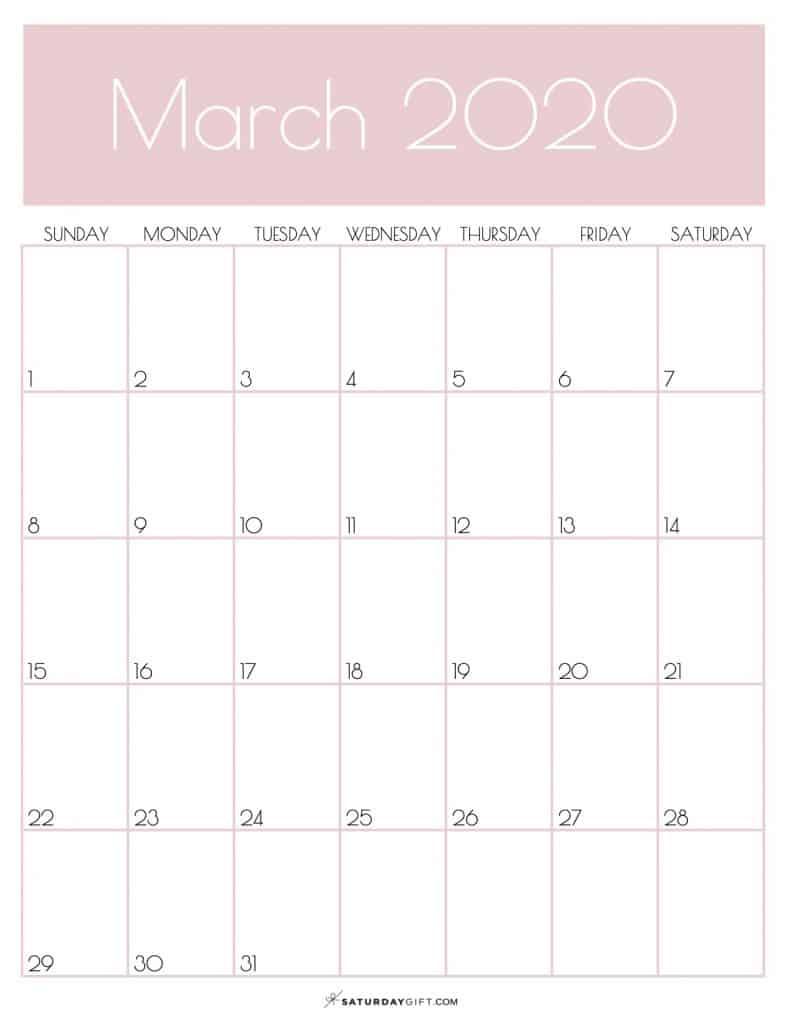 Monthly Goals Planner Calendar March 2020 Rose Gold | SaturdayGift