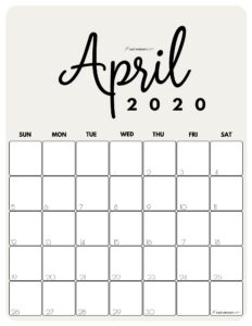 April 2020 Cute Monthly Calendar Beige PDF   SaturdayGift
