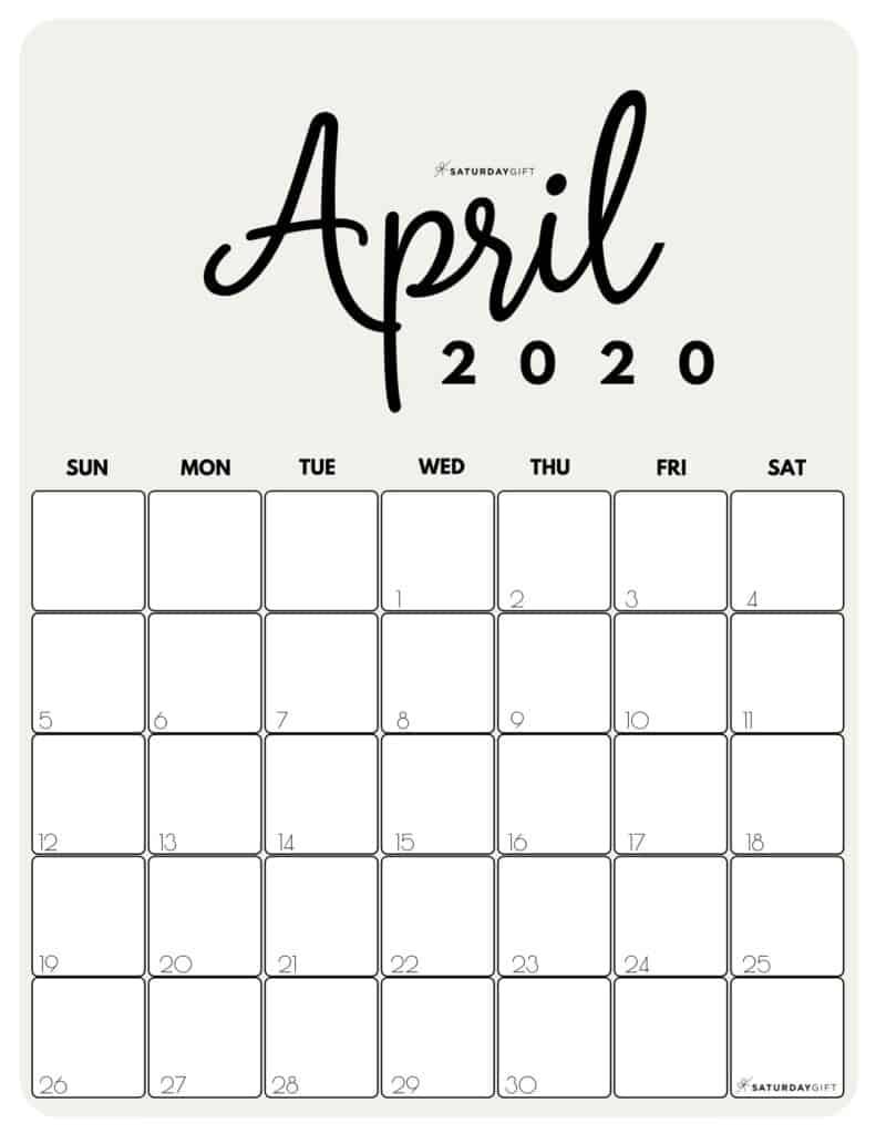 April 2020 Cute Monthly Calendar Beige PDF | SaturdayGift