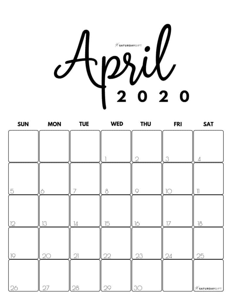 April 2020 Cute printable calendar by month Black and White PDF | SaturdayGift
