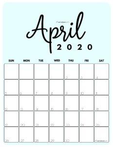 April 2020 Cute Monthly Calendar Blue PDF   SaturdayGift