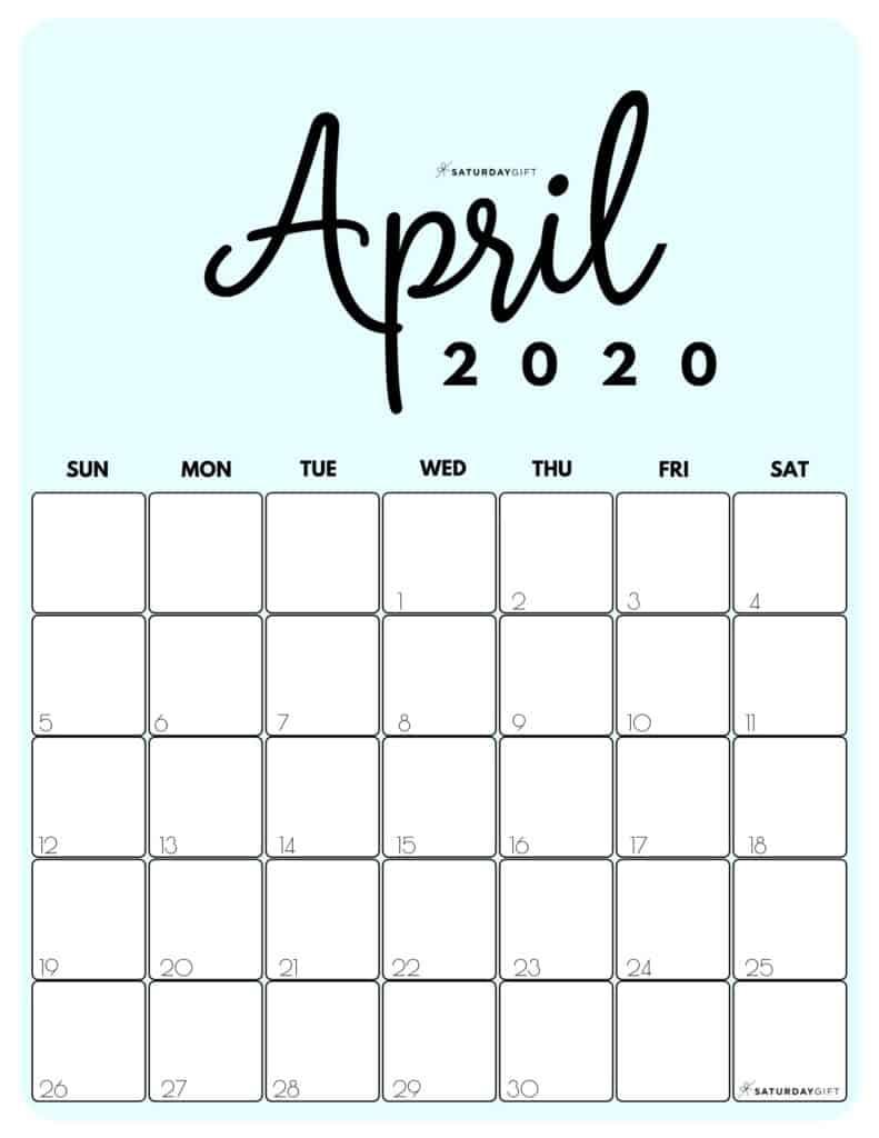 April 2020 Cute Monthly Calendar Blue PDF | SaturdayGift