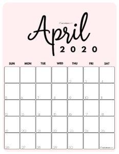 April 2020 Cute printable calendar by month Pink PDF   SaturdayGift