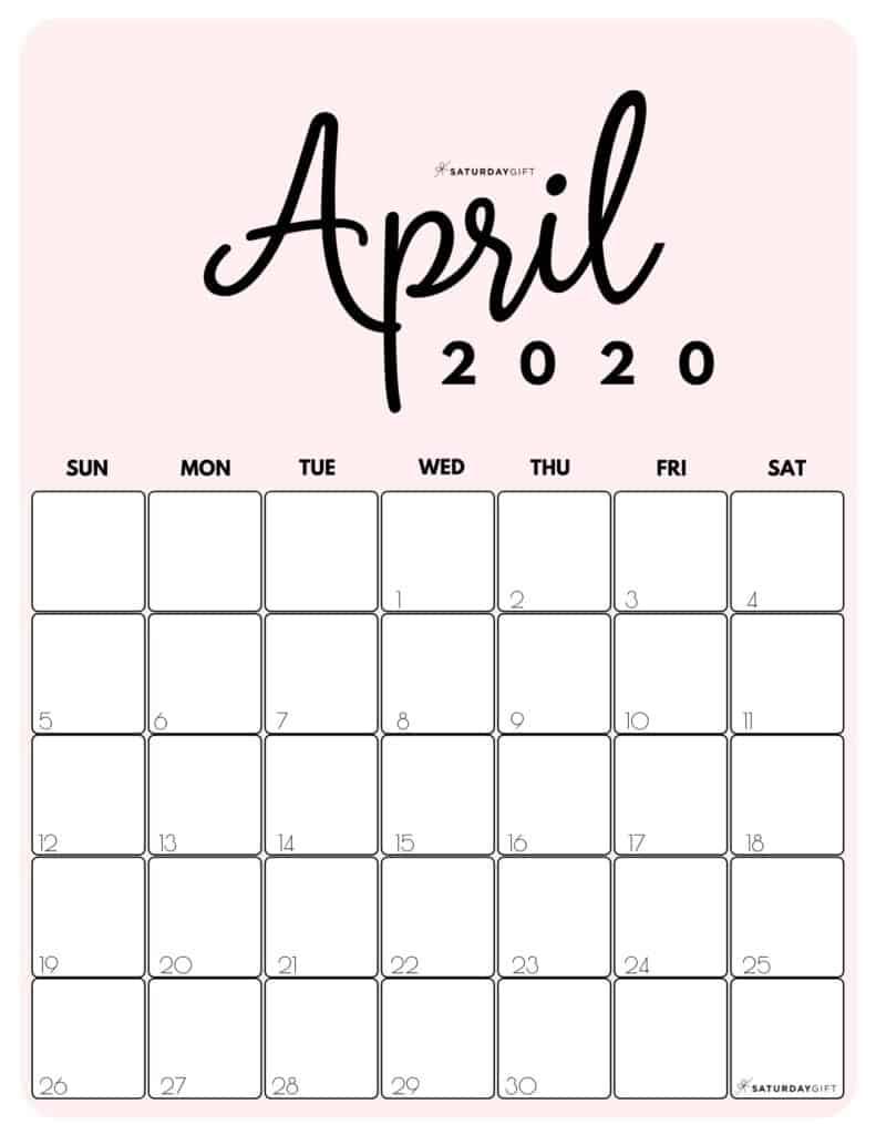 April 2020 Cute printable calendar by month Pink PDF | SaturdayGift