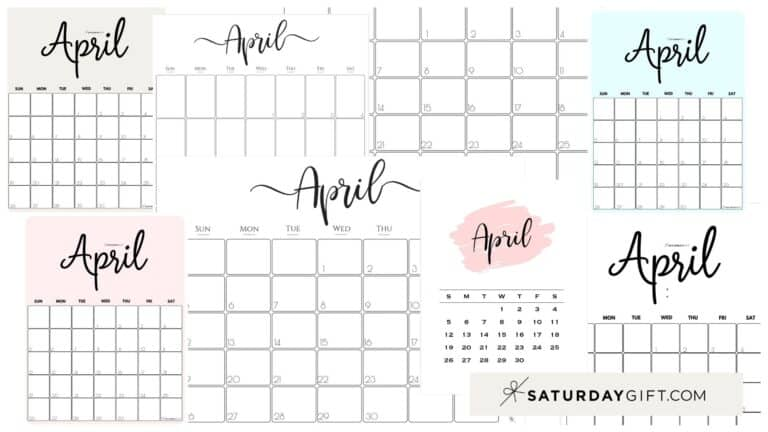 Cute (& Free!) Printable April 2021 Calendar – All Pretty SaturdayGift Designs