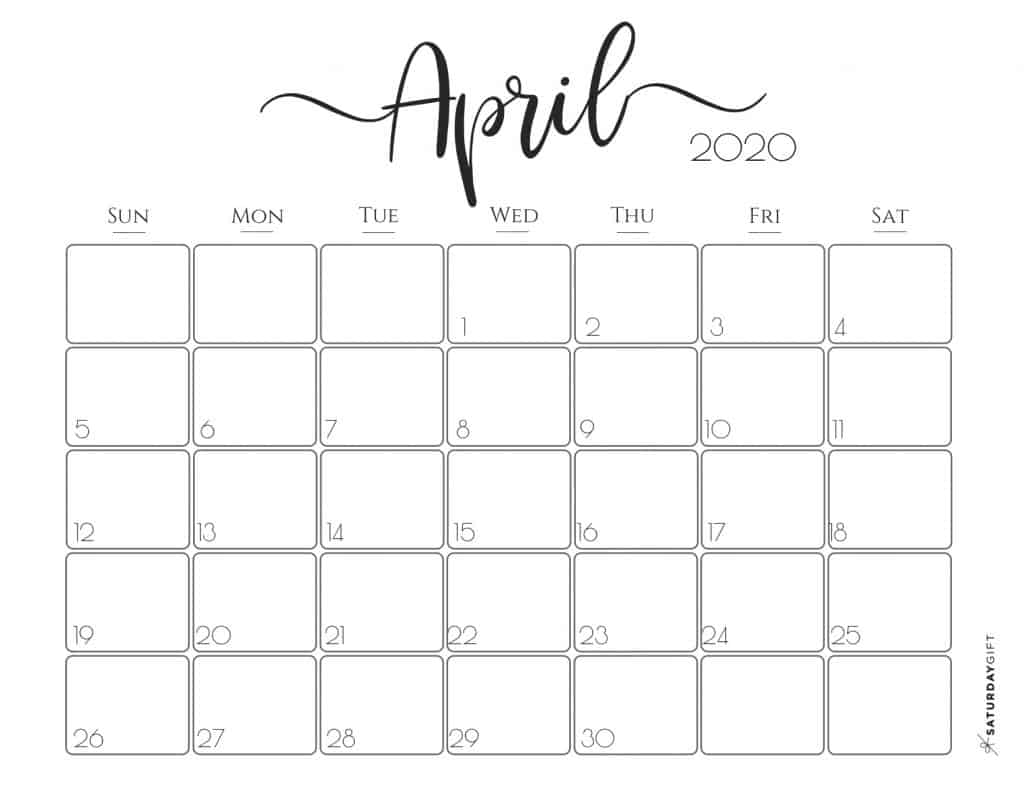 Elegant 2020 Calendar April - free printables | Pretty printable | Planner sheet | Planning & Organizing | 2020 Calendar | Black & white calendar | Minimalistic, pretty & simple | SaturdayGift | Saturday gift #SaturdayGift