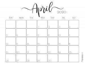 Elegant 2020 Calendar April - free printables   Pretty printable   Planner sheet   Planning & Organizing   2020 Calendar   Black & white calendar   Minimalistic, pretty & simple   SaturdayGift   Saturday gift #SaturdayGift