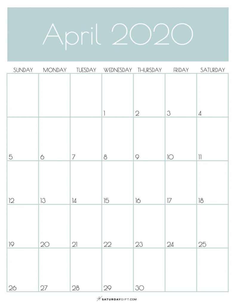 Monthly Calendar April 2020 Jungle Mist | SaturdayGift