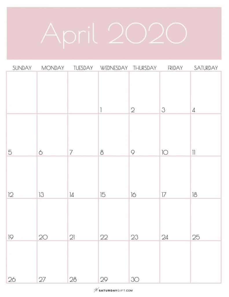 Monthly Planner Calendar April 2020 Rose Gold   SaturdayGift