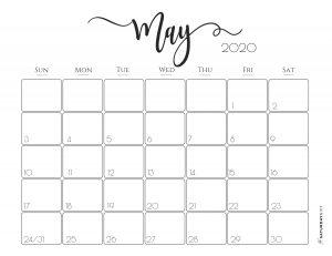 Elegant 2020 Calendar May - free printables | Pretty printable | Planner sheet | Planning & Organizing | 2020 Calendar | Black & white calendar | Minimalistic, pretty & simple | SaturdayGift | Saturday gift #SaturdayGift