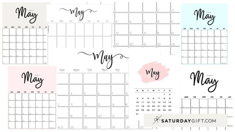 Cute (& Free!) Printable May 2021 Calendar – All Pretty SaturdayGift Designs