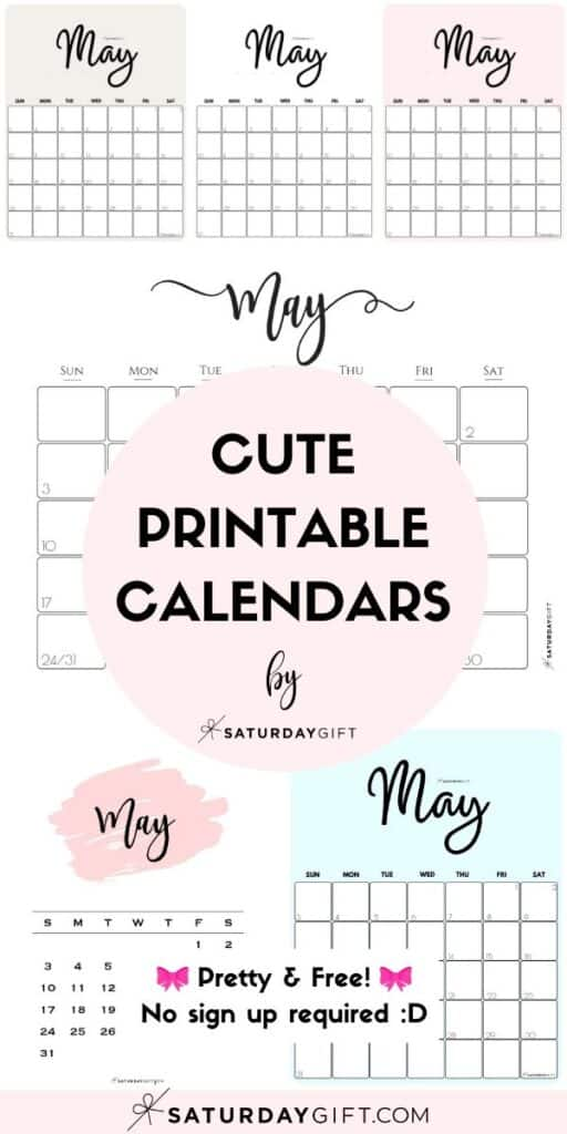 Cute & Free Printable May Monthly Calendars Long Pin Collage Image | SaturdayGift