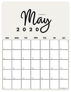 May 2020 Cute Monthly Calendar Beige PDF | SaturdayGift