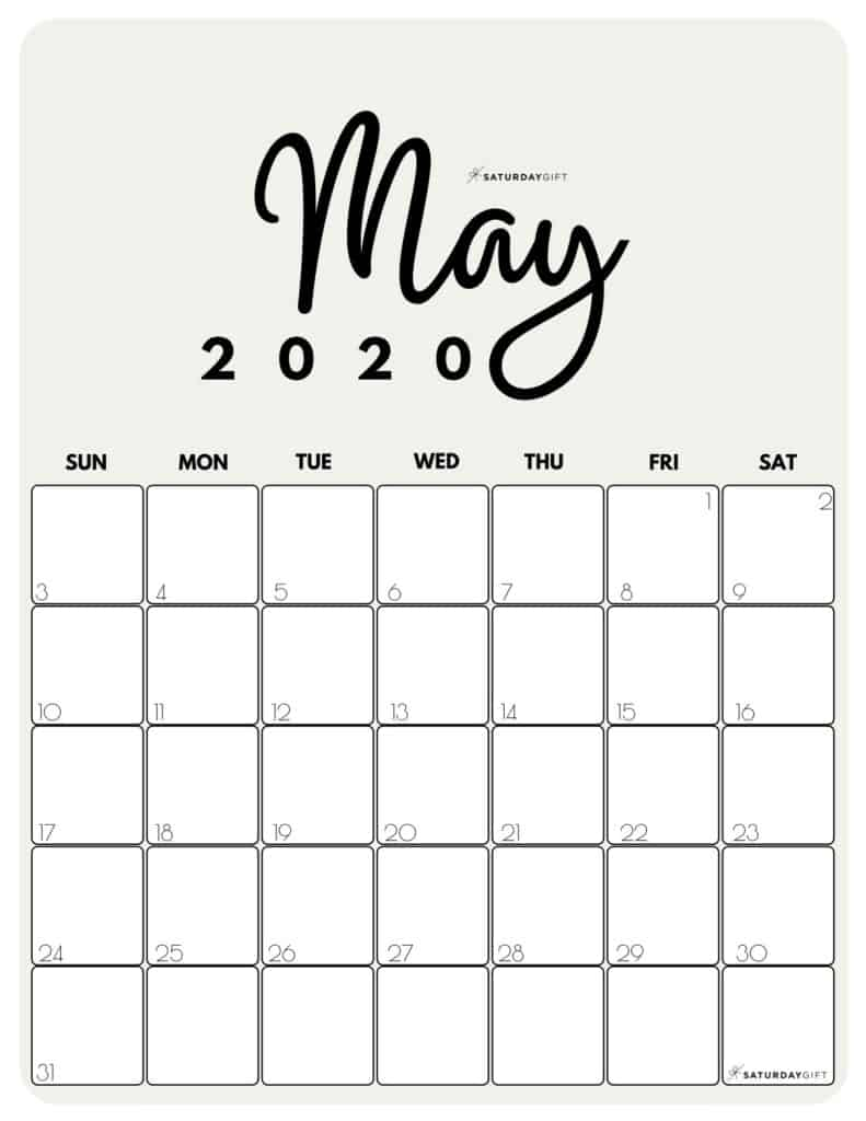 May 2020 Cute Monthly Calendar Beige PDF | SaturdayGift