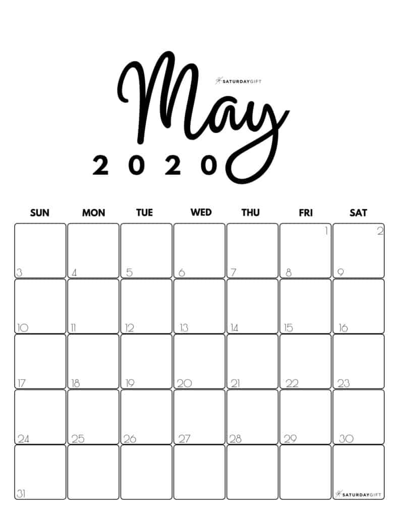 May 2020 Cute Monthly Calendar Black and White PDF | SaturdayGift
