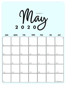 May 2020 Cute Monthly Calendar Blue PDF | SaturdayGift